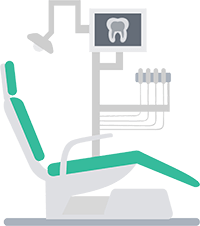 A gray and green dental chair and tools