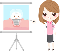 An animation of a female dentist showing something on a screen